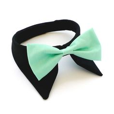 Dog collar in black with a mint bow tie!  I don't care how crazy it makes me....I am buying this!