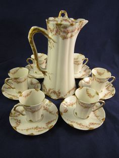 THEODORE HAVILAND LIMOGES FRANCE CHOCOLATE POT WITH 6 CUPS/SAUCERS #THEODOREHAVILANDLIMOGES