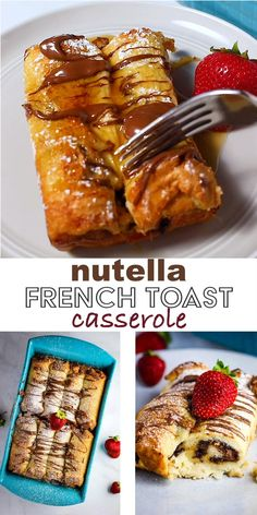 Nutella French Toast Casserole (the EASIEST!) - - This baked french toast recipe with Nutella is a SUPER easy, delicious, and kid-friendly brunch casserole. It's a make ahead dish that everyone, young and old, will love. Nutella French Toast, French Toast Bake, Easy Baked French Toast, Baked French Toast Overnight, Overnight French Toast Casserole, Chocolate French Toast, Banana Bread French Toast, Healthy French Toast, Eggnog French Toast
