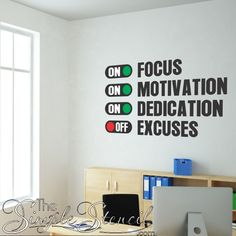 Fun wall art decal makes a great addition to school classroom walls, office work spaces, fitness centers, gyms, or anywhere you need a little more foc Office Wall Design, Office Wall Art, Office Walls, Office Wall Graphics, Office Boards, Office Designs, Classroom Walls, Classroom Design, Classroom Organization