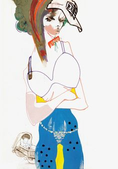 Julie Verhoeven, Sevenoaks, Week 5: Mixed Media. Artistic between art and fashion illustration. Creating hair with simple strokes, pencil lines, exagerration of body parts.