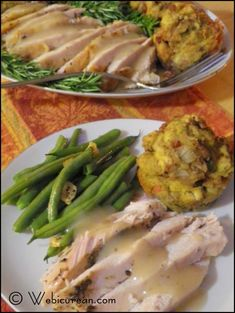 Thanksgiving Dinner For Two!   Turkey Breast Roasted in White Wine with Pan Gravy, Cornbread Stuffin' Muffins with Fennel, Pancetta & Pecans & Blue Lake Green Beans with Slivered Garlic and Crushed Red Pepper