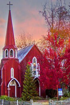 Red Church in the Fall ~ Sonora, California