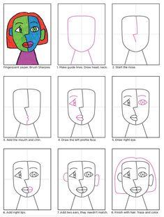 art for kids cubism - kunst für kinder kubismus Portraits Cubistes, Portraits For Kids, Cubist Portraits, L'art Du Portrait, Painting Portraits, Paintings, Kunst Picasso, Art Picasso, Picasso Kids