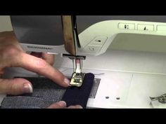Bernina 380 23 Jeans Hem with the Height Compensation Tool - YouTube