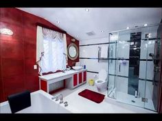 Modele de bai pe fond rosu - Models of bathrooms on red background