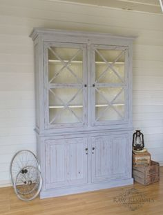 Large rustic buffet and hutch - grey and white distressed with large doors. furniture diy furniture redo www.rawrevivals.com.au