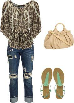 animal print blouse, distressed denim, mint sandals and beige bag.