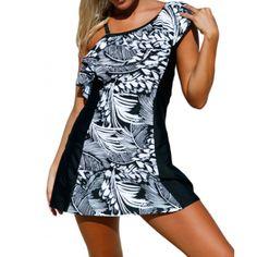 Tankini jupe & top col asymétrique à rayures - bestyle29.com