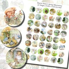 Beatrix Potter's Spring Printables ONE INCH by imagesbythebook