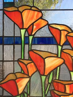 Calla Lily Flower Stained Glass Suncatcher FREE SHIPPING 8 Round Orange White Green