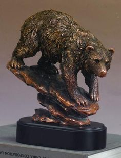 Bear On Rock Statue Sculpture Trophy Award