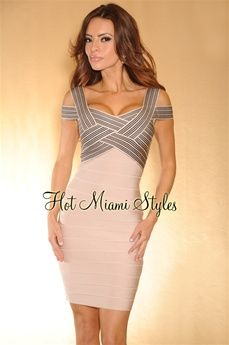 HMS EXCLUSIVE: Platinum Pink Black Woven Banded Top LUXE Bandage Dress