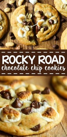 These warm and gooey cookies are filled with nuts and chocol… Rocky Road Cookies! These warm and gooey cookies are filled with nuts and chocolate chips and topped with a perfectly toasted marshmallow. Cake Mix Cookie Recipes, Best Cookie Recipes, Baking Recipes, Dessert Recipes, Gooey Cookie Recipe, Home Made Cookies Recipe, Cokies Recipes, Baking Snacks, Cookie Favors