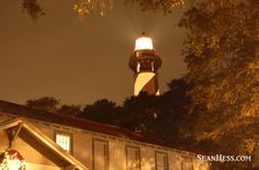 The lighthouse, a glowing beacon at the annual luminary night at the St. Augustine Lighthouse in St. Augustine, Florida.  What an amazing town we live in...you can live here too!  Image by Sean Hess.  www.StAugTeam.com