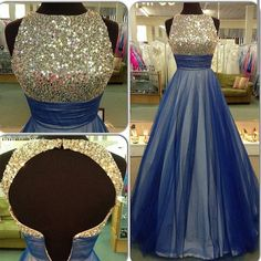 Gorgeous Blue Tulle Prom Dress,A-line Prom Dress,Open Back Prom Dress,O-neck…