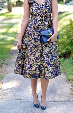 bc86157cf6 Prada Metallic Jacquard Printed Dress…fall fashion on bloom girl blog jw  anderson clutch handbag navy