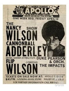 Apollo Theatre: Nancy Wilson, Cannonball Adderley, Duke Pearson, Flip Wilson, and The Impacts; 1968 Art Print at Art.com