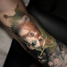 Red Panda Realism Bicep Tattoo