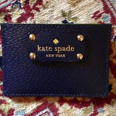 """Kate Spade navy ID wallet NWT Navy Graham leather ID wallet, 3 card slots, one storage pocket, approx 3x4.25"""". PRICE FIRM kate spade Bags Wallets"""