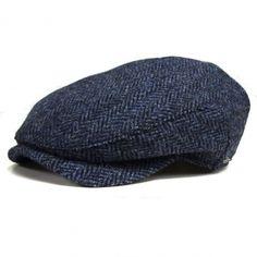 Wigens Harris Tweed Cap with earflaps - Navy Charcoal Herringbone (110017)