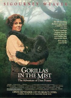Gorillas in the Mist is a 1988 American drama film directed by Michael Apted and starring Sigourney Weaver as naturalist Dian Fossey. It tells the true story of her work in Rwanda with mountain gorillas and was nominated for five Academy Awards. See Movie, Movie List, Movie Tv, 80s Movies, Great Movies, Cult Movies, Movies Showing, Movies And Tv Shows, Gorillas In The Mist