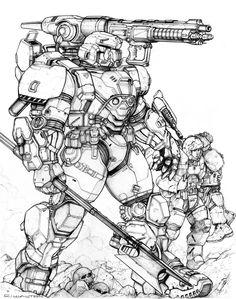 RIFTS NG Midas Power Armor by ChuckWalton.deviantart.com on @deviantART