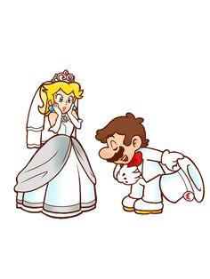 [!EDIT!] Mario and Peach in their wedding costume by TemmieSkyie on DeviantArt