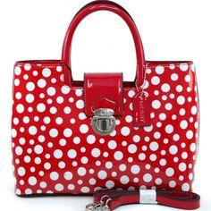 Women's Petite Glossy Polka Dot Fashion Satchel w/ Bonus Shoulder Strap - Red/White