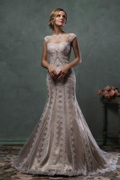Wedding dress Mimi - AmeliaSposa Amelia Sposa silk and lace high neck cap sleeves