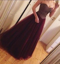 Charming Long Prom Dress, Backless Prom Dresses,Sexy Prom Dress,Burgundy Tulle Prom Gown2017 by fancygirldress, $159.00 USD
