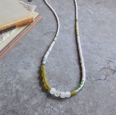 Long Bohemian Necklace, Glass Beads & Resin Necklace, Tribal Jewelry, Layering Necklace, Olive Green White Necklace, Ethnic Boho Jewelry