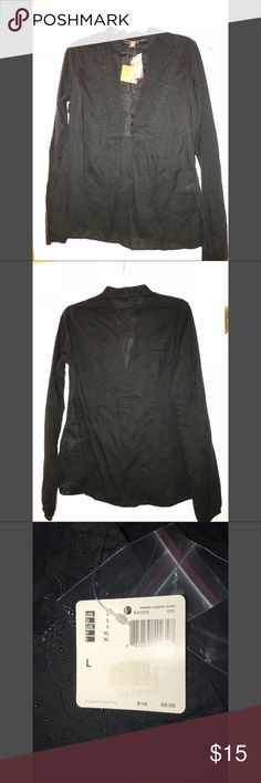 Women's NWT Esprit Shirt Black Large NWT Esprit Shirt with small beads going down the front. Esprit Tops