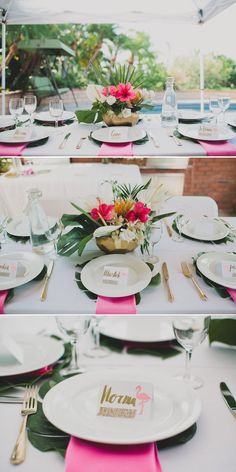 Tropical-Inspired Bridal Shower How do you feel about hot pink napkins?If not for the reception then definitely for the Bridal Shower. I might have to have creative control over the decor ; Luau Bridal Shower, Bridal Shower Desserts, Unique Bridal Shower, Bridal Shower Centerpieces, Wedding Reception Centerpieces, Wedding Table Decorations, Bridal Shower Games, Wedding Tables, Flower Centerpieces