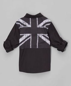 Black Chambray British Flag Button-Up - Infant & Toddler