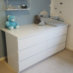 An Open Book: Barnerum – Drengeværelse – Baby Room 2020 Ikea Baby Room, Baby Boy Rooms, Baby Bedroom, Baby Room Decor, Newborn Room, Baby Changing Table, Baby Room Design, Storage Spaces, Kids Room