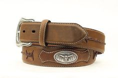 """- Classic Western style belt - Longhorn conchos - Barbed Lace detail - Belt is 1 1/2"""" wide - Buckle is included. - Buckle is conveniently removable. - Belts are measured by leather only to center of h"""