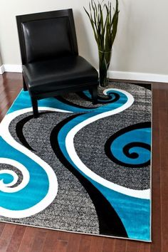 Turquoise Modern Rugs | 5x8 Cheap Rugs | 8x11 Discount Rugs - Bargain Area Rugs