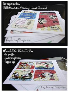 Disney Mickey Travel Journal Printable Ideas  With links to downloads for free printable travel journal, postcards, and coloring sheets.