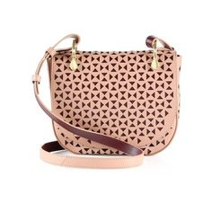 Elizabeth and James Zoe Perforated Leather Saddle Bag ($312) ❤ liked on Polyvore featuring bags, handbags, shoulder bags, twig, saddle bags, red purse, red shoulder bag, red leather shoulder bag and leather purses