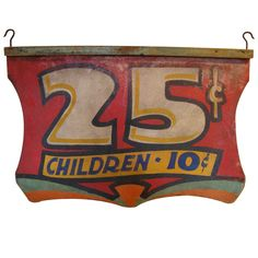 Early 20th Century Painted Carnival Sign, USA, 1920-30.  Painted carnival sign on untempered masonite. Double sided but back side has less paint