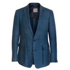 OVADIA & SONS $1,095 blue canvased linen sport coat blazer jacket 42/52 L NEW