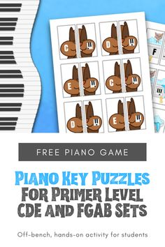 Cut And Play Piano Puzzles To Reinforce Keyboard Awareness For Primer Students - WunderKeys Piano Books and Resources Preschool Music Lessons, Music Activities For Kids, Learning Games, Student Learning, Piano Games, Music Games, Free Piano, Rhythm Games, Piano Teaching