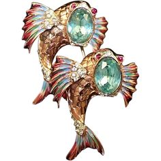 CORO Sterling Enamel 'Jeweled Dolphins' Fish Separable Duette/Clips/Pins