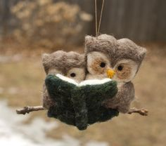 Needle Felted Owl Ornament - Reading to Young. $33.00, via Etsy.