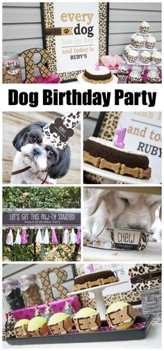 A leopard print dog birthday party that will make you smile (especially if you're a dog lover). See more party ideas at CatchMyParty.com. #doggy #birthdayparty