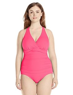 b0a8de0aee4ed Jantzen Women's Plus-Size Solid Halter One Piece Swimsuit with Tummy  Control Swimsuit Cover Ups
