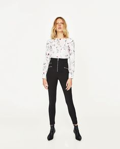 ZARA - SALE - PRINTED BLOUSE WITH FRILL