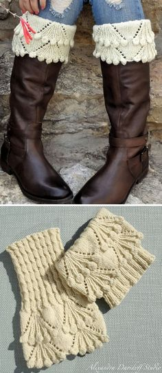 Knitting Pattern for Eleanor Boot Toppers - Lace and bobble cuffs top mock cable. Designed by Alexandra Davidoff.
