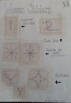 Wessex Stitchery notes by Kath Morton Hungarian Embroidery, Bird Embroidery, Embroidery Needles, Embroidery Jewelry, Embroidery Patterns, Cross Stitch Patterns, Needlepoint Stitches, Needlework, Blackwork